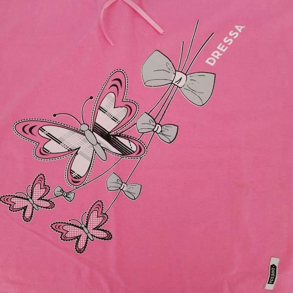 Dressa Home esztétikai hibás pillangós gombos rövid ujjú női pamut hálóruha - pink