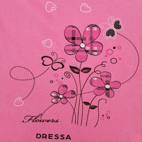 Dressa Home pillangós gombos rövid ujjú női pamut hálóruha - pink