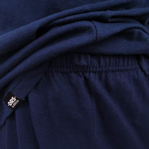 Dressa Home rövid ujjú gombos férfi pamut pizsama szett - sötétkék