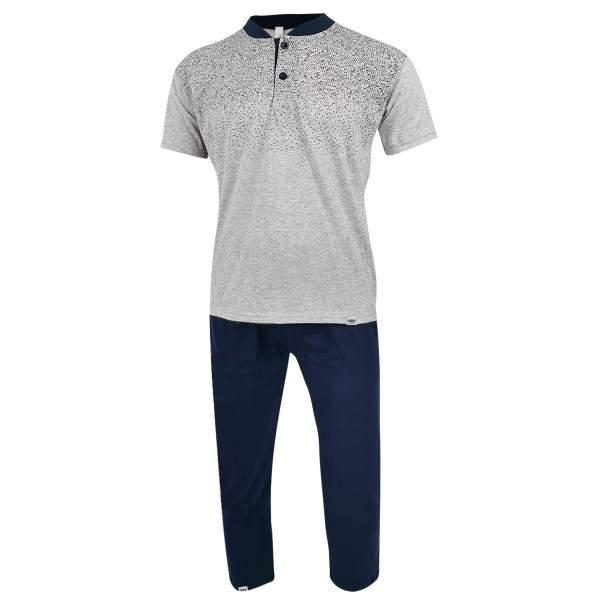 Dressa Home rövid ujjú gombos férfi pamut pizsama szett - világosszürke