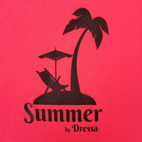 Dressa Summer mintás női strandruha - korallpiros