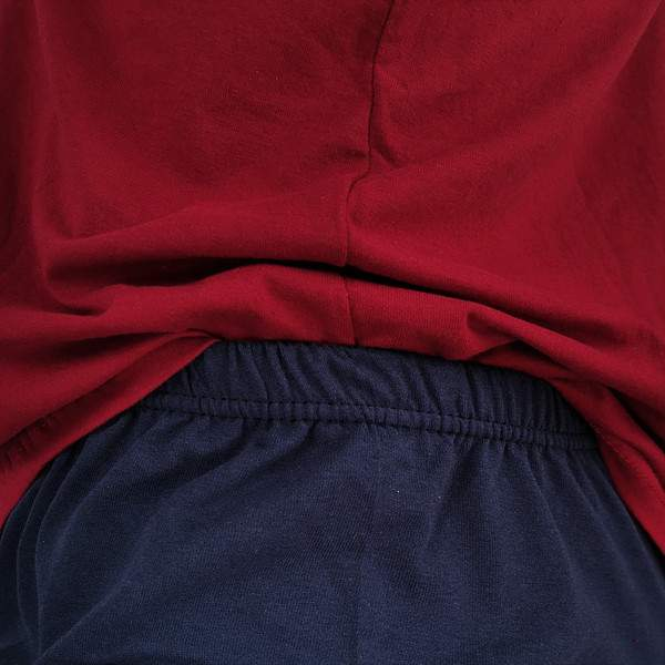 Dressa Home New York gombos rövid ujjú rövidnadrágos pamut férfi pizsama - bordó