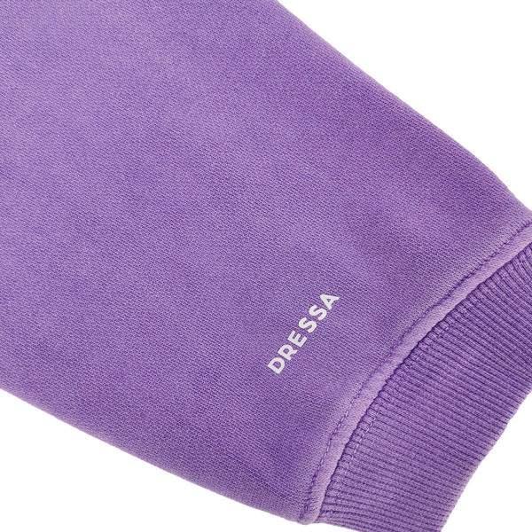 Dressa College Oversize női pamut cipzáros kapucnis pulóver - lila