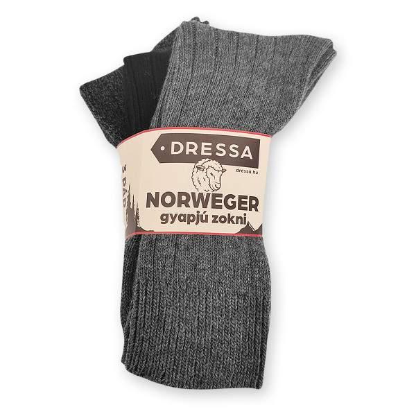 Dressa Norweger gyapjú bokazokni - 3 pár
