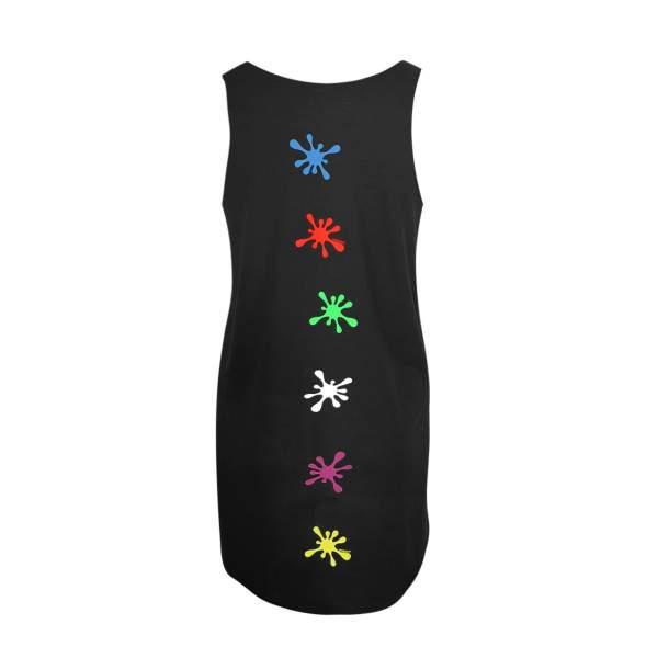 Dressa Paint festékpaca mintás női strandruha - fekete
