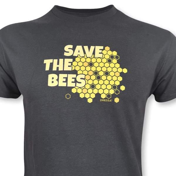 Dressa Save The Bees méhecskés biopamut férfi póló - sötétszürke