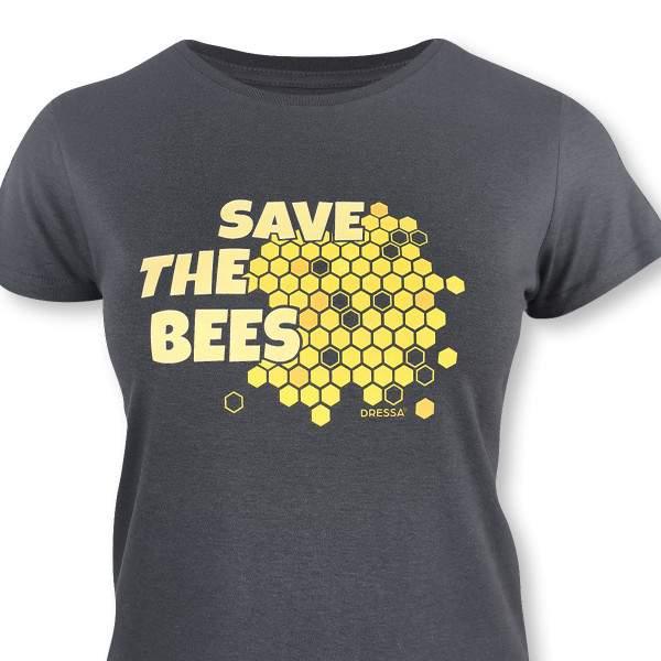 Dressa Save The Bees méhecskés biopamut női póló - sötétszürke