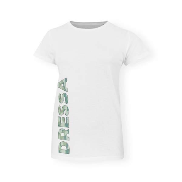 Dressa Urban terepmintás feliratos karcsúsított női biopamut póló - fehér