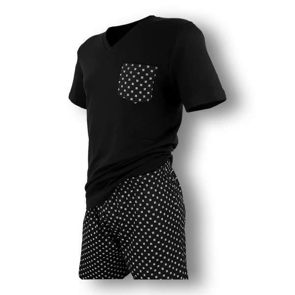 Dressa esztétikai hibás zsebes férfi rövidnadrágos pamut pizsama - fekete - kék