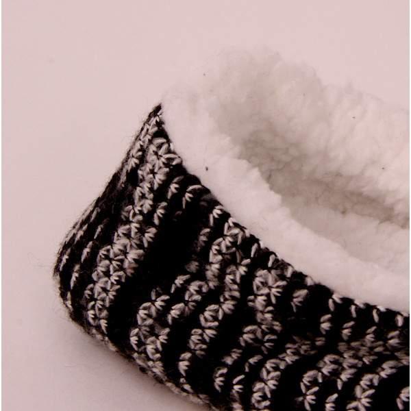 Fashion Trade női bélelt mintás mamusz - fekete