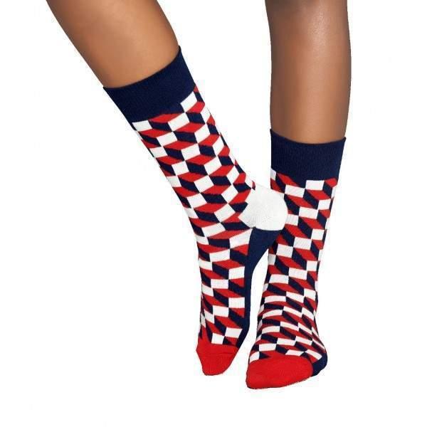 Happy Socks FO01 optikai csalódás mintázatú zokni