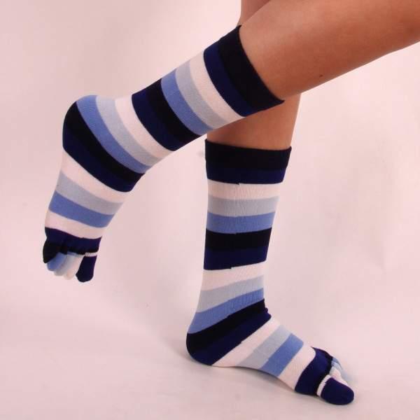 HDI csíkos pamut lábtyű - kék