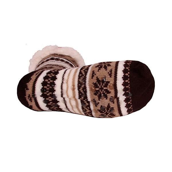 HDI norvégmintás férfi mamusz zokni - barna