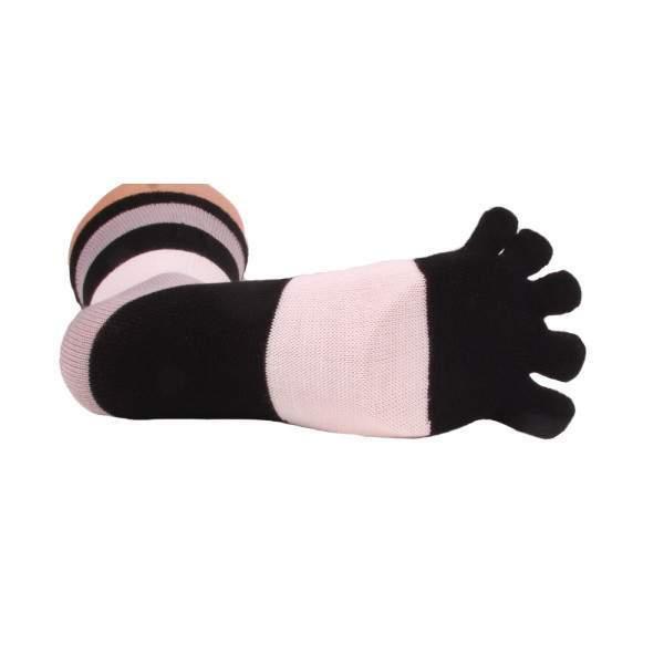 HDI csíkos pamut lábtyű - fehér és fekete