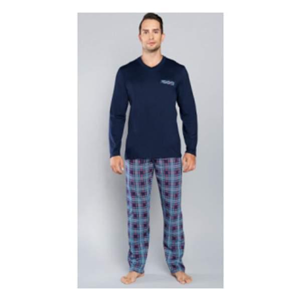 Jordan férfi kétrészes pamut pizsama - sötétkék