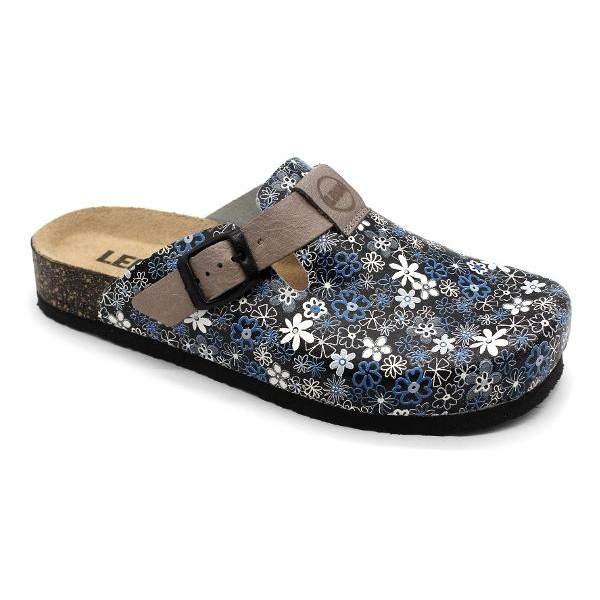 Leon 1250C-4250C divatos virágmintás női bőr klumpa - kék