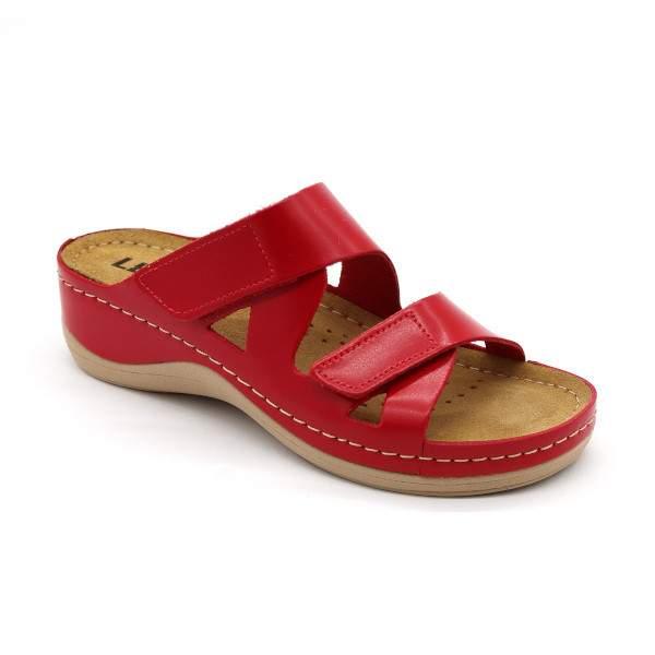 Leon 906 női bőr papucs - piros