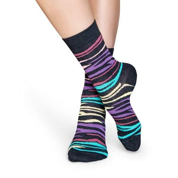 Happy Socks MZE01 színes zebramintás zokni