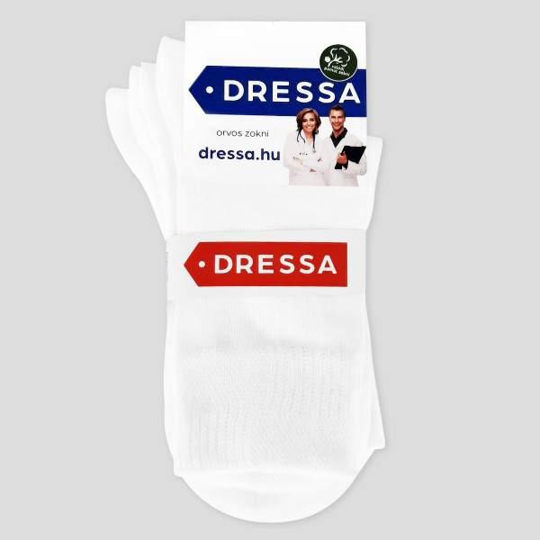Dressa pamut gumi nélküli orvos zokni - fehér - 39-41 - 3 pár