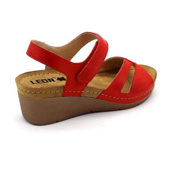 Leon 1056 női bőr szandál - piros