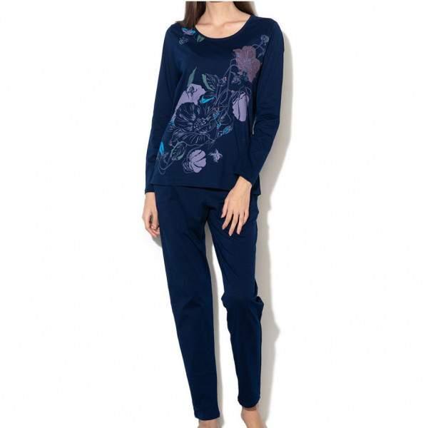 Triumph Sets PK 02 női pamut pizsama szett - sötétkék mintás