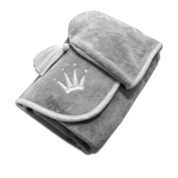 Triumph Poncho kapucnis plüss takaró - szürke